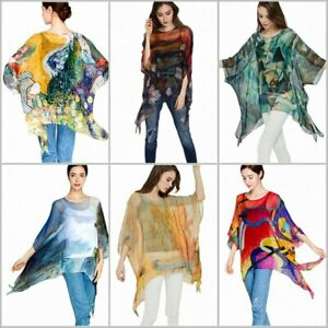 Damen Sommer Chiffon Seide Tunika Poncho Bluse cover-up Strand-kleid Überwurf