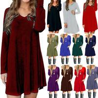 USA Womens V-Neck Long Sleeve A-Line Pockets Swing Dress Casual Long Tunic Top