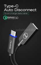 MCDODO Smart LED Auto Disconnect USB Type C QC3.0 Fast Charging Cable Fo Samsung