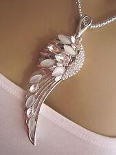 Damen Hals Kette Modeschmuck lang Modekette Strass Engel Flügel XL Silber Weiss