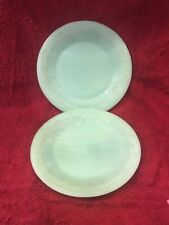 Vintage Pair Jadeite Jane Ray Dinner Plates Somewhat Blemished