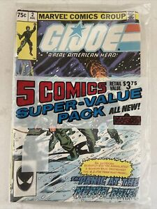 Vintage 1980s G.I. JOE AMERICAN HERO MARVEL 5 COMIC Super Value Pack SEALED