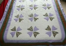 Beautiful Vintage Handmade Quilt 52 x 75 Purple Grapes White Brown Green