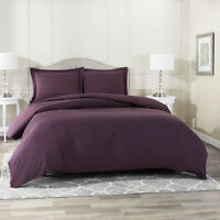 Duvet Cover Set Soft Brushed Comforter Cover W/Pillow Sham, Eggplant - Full