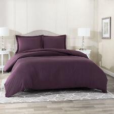 Duvet Cover Set Soft Brushed Comforter Cover W/Pillow Sham, Eggplant - Full