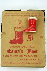VTG SANTA'S BOOT Cardboard Box & Plastic Candy Container Christmas Ornament
