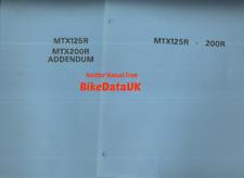Honda MTX 125 200 R RW (83-94) Original Factory Service Repair Manual Book CC04