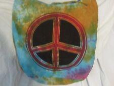Sling Style Hobo 100% Cotton tie closure Peace Sign Purse Multicolor