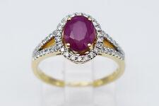 14K Yellow Gold Pink Ruby Oval Gemstone & Diamonds Lady Ring - Band Size 6.25