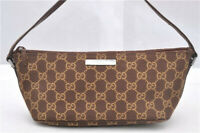 Gucci Handbag Purse Vintage Baguette Canvas Guccissima Logo Print Leather Small