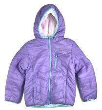 EDDIE BAUER Hoodie Puffer Jacket Girls Size M Lavender Reversible Fleece Lined