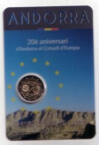 "2014 ANDORRA 2 EURO  COINCARD "" 20° anniv. di Andorra al Consiglio d'Europa """