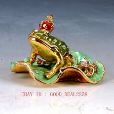 Chinese Cloisonne Handwork Carved Frog Box statue JTL042