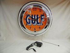 Gulf Lighted Neon Clock / Sign - New