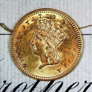 * 1858 * CHOICE to GEM BU MS GOLD $1.00 INDIAN PRINCESS * ORIGINAL COLLECTION *
