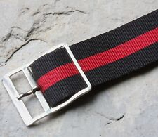 Vintage NOS watch 18mm nylon band 1960s black and red stripes with silver buckle