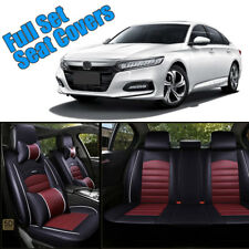 Universal Full Set Car Seat Cover 5-Seats PU Leather Front+Rear Cushion W/Pillow
