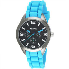 Ravel Boys Youths Teens Blue Sports Watch with Trendy Textured Silicone Strap