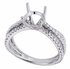 18K White Gold 0.75Ct Diamond Twist Design Solitaire Ring Setting(Sizable)