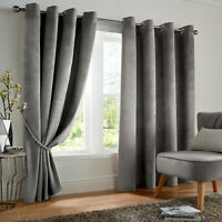 Silver Grey Smooth Velvet Blackout Thermal Lined Eyelet Ring Top Curtains Pair