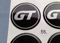 4x GT Embleme für Nabenkappen Felgendeckel 55mm Silikon Aufkleber GT55SS