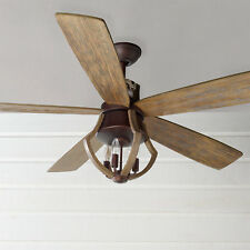 "56"" Farmhouse Rustic Industrial Wine Barrel Stave CEILING FAN Light Kit Included"
