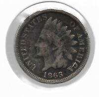 Rare Old Antique US 1863 CIVIL WAR Indian Head Penny Collection Coin LOT:P42