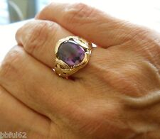 Estate 14K Gold & Faceted Oval Cabochon Amethyst 10mm x 10mm Solitaire Sz. 8