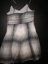 Nautica NWT Womens 12 Sun Dress Black Cream Plaid Nice Knee Beach New  Lined