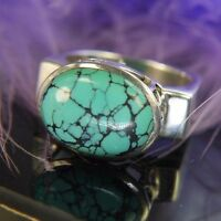 """Vintage Retired Turquoise 1/2"""" N-S on finger 0.925 Sterling Silver Ring Size 8.5"""