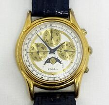 Vintage Fossil Moon Phase Chronograph Wrist Watch 3ATM TM-7292 Navy Blue Band