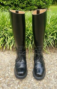 VTG Men's Tall Black Leather Motorcycle Police Patrol Riding Field Boots US 8C