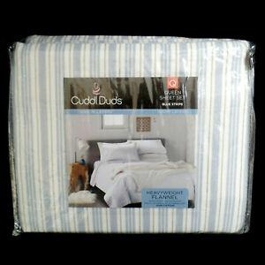 Cuddl Duds Heavyweight Flannel Queen Sheet Set Sheets Blue Stripe NEW