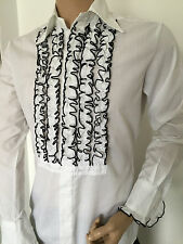 White Ruffled Tuxedo Shirt BNWT Ruffled Dress Disco Shirt 40in X 15in Small UK
