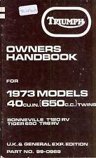 TRIUMPH manual del propietario original Bonneville Tiger 650 T120R TR6R Reino Unido 1973