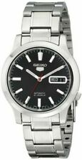 SEIKO SNK795 Mens Stainless Steel Automatic Black Dial w Day/Date Watch $185