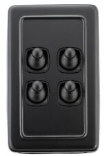 4 Gang Matt Black Country Style Toggle Light Switches - with Black Insert - 5355
