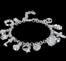 "Silver 925 Crystal Charm Bracelet  Made with Swarovski Crystals 7 1/2 """