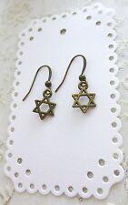 Antique Brass Star Of David Jewish Star Dangle Earrings