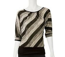 "IZ BYER CALIFORNIA  Juniors' Mid-Length Metallic Top BLACK/GRAY/WHITE""Size S NWT"