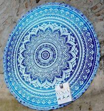 Indian Blue Round Mandala Yoga Mat Wall Hanging Boho Beach Throw Tapestry Decor