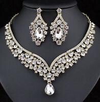 Elegant Clear Austrian Rhinestone Crystal Bib Necklace Earring Set Bridal N1623g