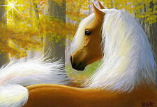 Palomino horse autumn fall forest sunlight limited edition aceo print art