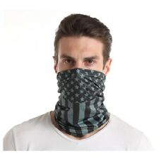 Black Grey American USA Flag Multi Function Head Wear Neck Gaiter Face Mask