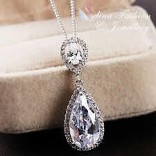 18K White Gold Plated Simulated Diamond Classic Halo Teardrop Bridal Necklace