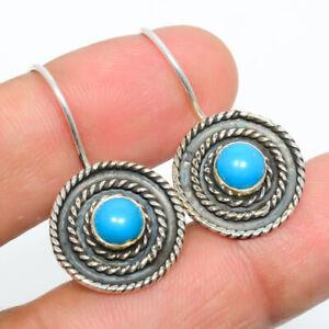 "Sleeping Beauty Turquoise 925 Sterling Silver Israeli Earring 1.17"" M1510"