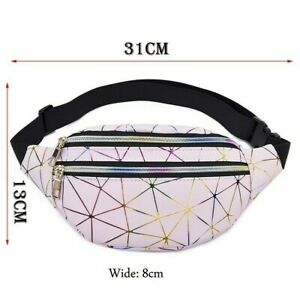 Women Waist Bags Running Belt Bag Geometric Waist Packs Laser Chest Pouch