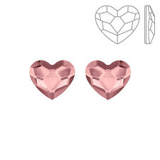 Swarovski 2808 Hotfix Heart Flatback Crystals Antique Pink 10mm Pack of 2 K72/3