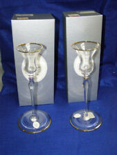 "2 Christian Dior Crystal Triomphe 8 5/8"" Tall Candlestick Holders New In Boxes"
