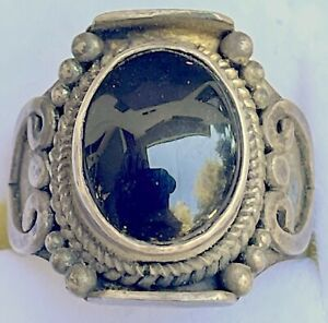 Old Original Sterling Silver and Onyx Ring 1920's Very Rare
